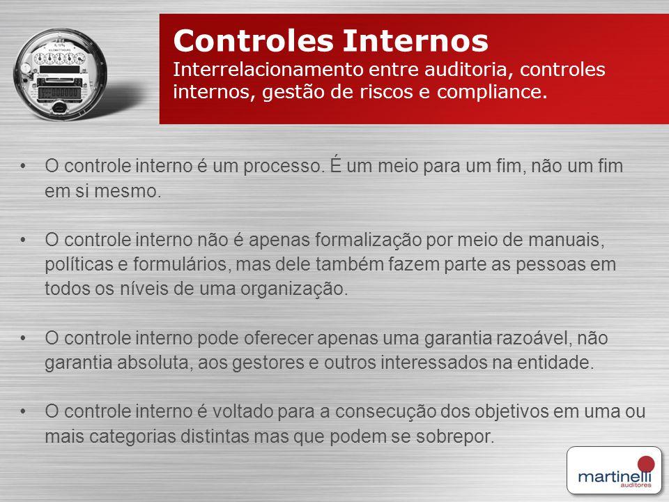 Controles Internos Interrelacionamento entre auditoria, controles internos, gestão de riscos e compliance. O controle interno é um processo. É um meio