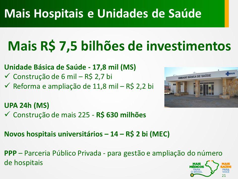 Unidade Básica de Saúde - 17,8 mil (MS) Construção de 6 mil – R$ 2,7 bi Reforma e ampliação de 11,8 mil – R$ 2,2 bi UPA 24h (MS) Construção de mais 22