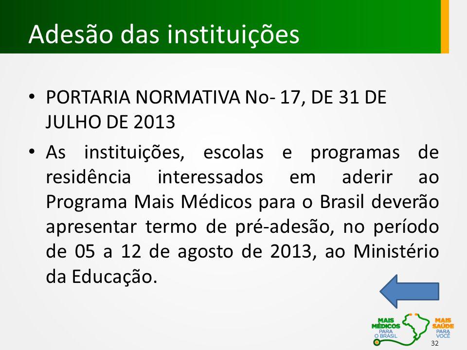 Adesão das instituições PORTARIA NORMATIVA No- 17, DE 31 DE JULHO DE 2013 As instituições, escolas e programas de residência interessados em aderir ao