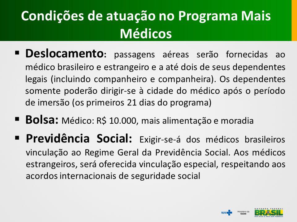  Deslocamento : passagens aéreas serão fornecidas ao médico brasileiro e estrangeiro e a até dois de seus dependentes legais (incluindo companheiro e