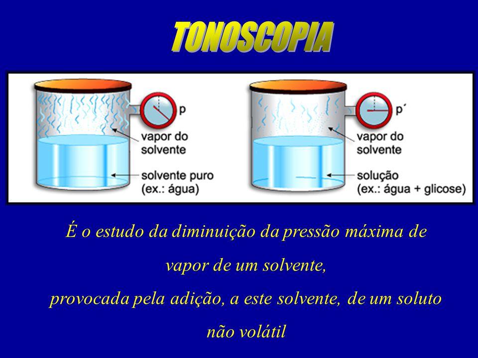 É o estudo da diminuição da pressão máxima de vapor de um solvente, provocada pela adição, a este solvente, de um soluto não volátil