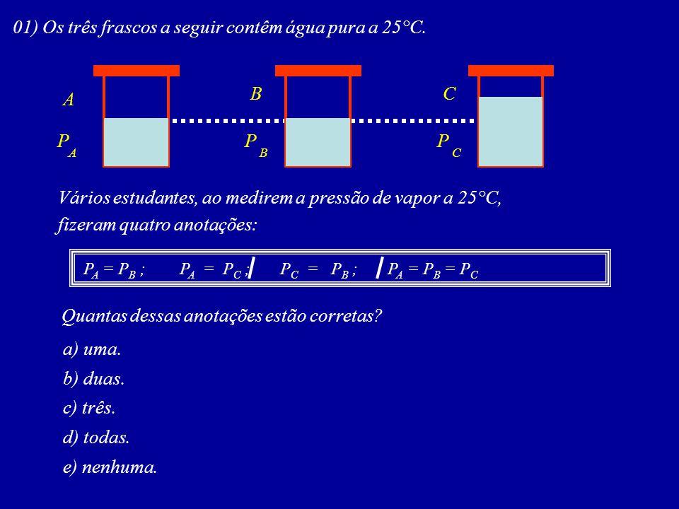 01) Os três frascos a seguir contêm água pura a 25°C. A BC ABC PPP Vários estudantes, ao medirem a pressão de vapor a 25°C, fizeram quatro anotações: