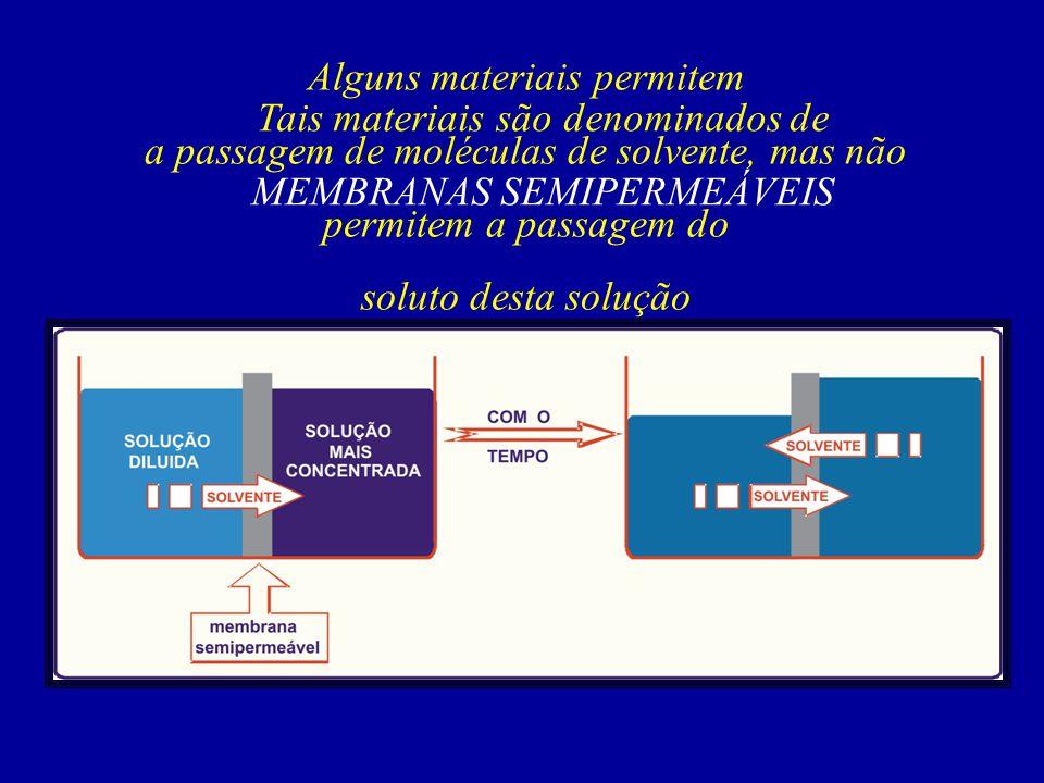 Alguns materiais permitem a passagem de moléculas de solvente, mas não permitem a passagem do soluto desta solução Tais materiais são denominados de M