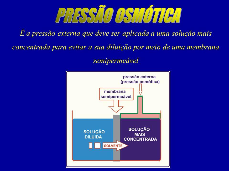 É a pressão externa que deve ser aplicada a uma solução mais concentrada para evitar a sua diluição por meio de uma membrana semipermeável