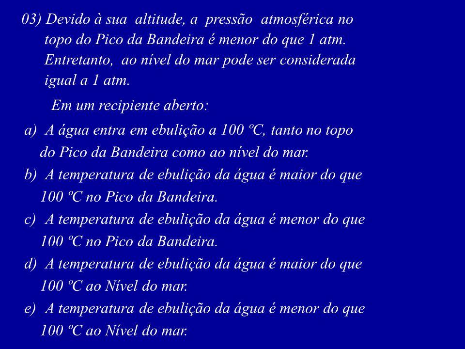 03) Devido à sua altitude, a pressão atmosférica no topo do Pico da Bandeira é menor do que 1 atm. Entretanto, ao nível do mar pode ser considerada ig