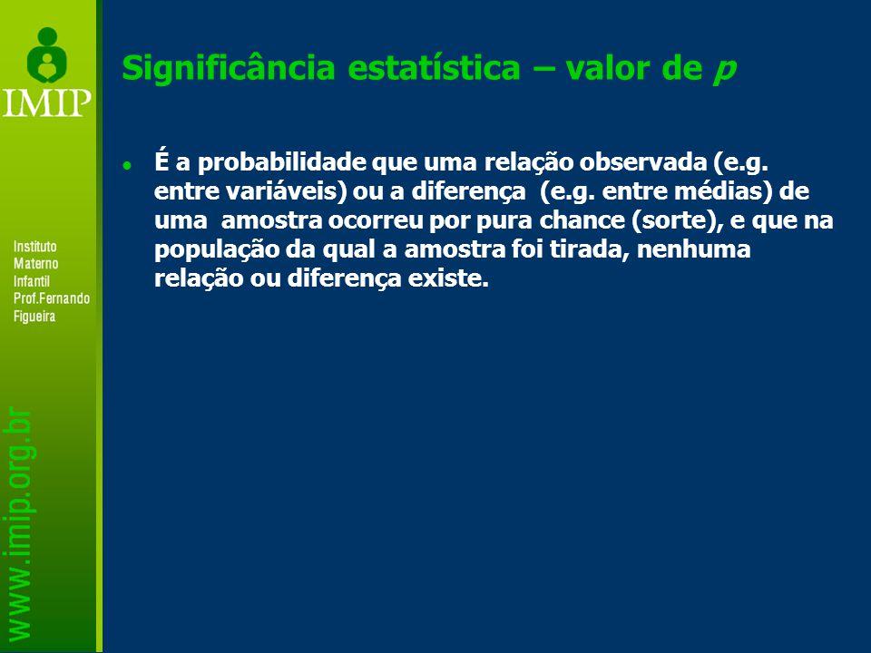 Significância estatística – valor de p É a probabilidade que uma relação observada (e.g.
