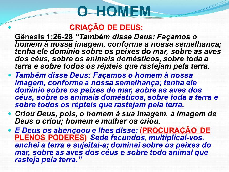 """O HOMEM CRIAÇÃO DE DEUS: Gênesis 1:26-28 """"Também disse Deus: Façamos o homem à nossa imagem, conforme a nossa semelhança; tenha ele domínio sobre os p"""