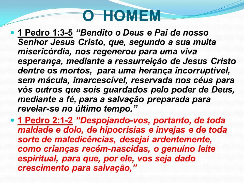 """O HOMEM 1 Pedro 1:3-5 """"Bendito o Deus e Pai de nosso Senhor Jesus Cristo, que, segundo a sua muita misericórdia, nos regenerou para uma viva esperança"""