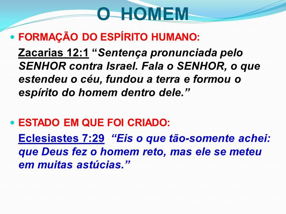 """O HOMEM FORMAÇÃO DO ESPÍRITO HUMANO: Zacarias 12:1 """"Sentença pronunciada pelo SENHOR contra Israel. Fala o SENHOR, o que estendeu o céu, fundou a terr"""