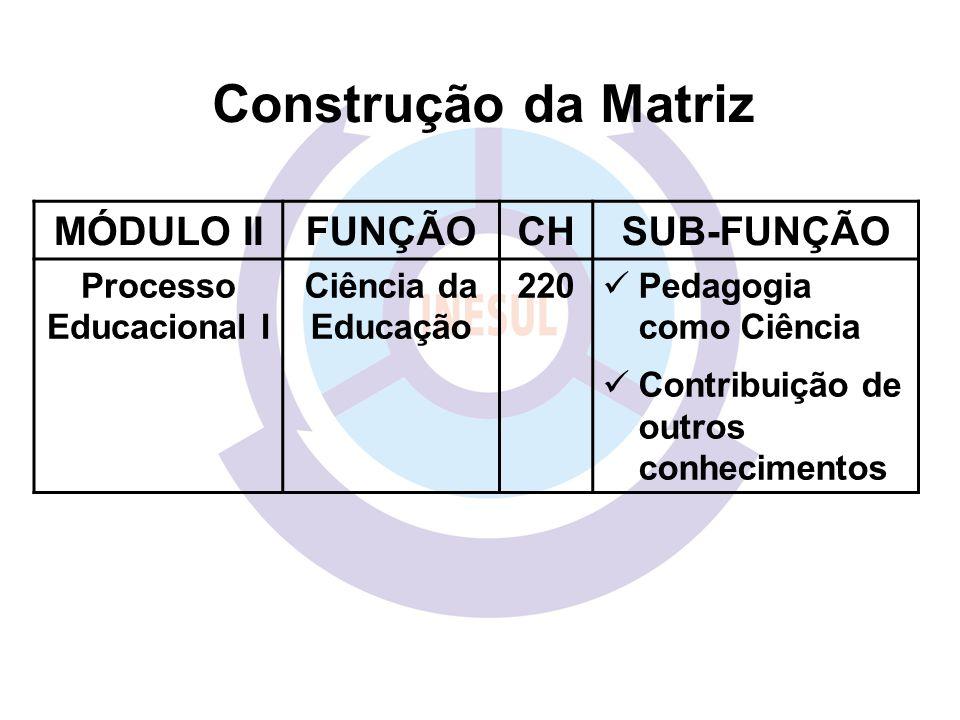 MÓDULO IIFUNÇÃOCHSUB-FUNÇÃO Processo Educacional I Ciência da Educação 220 Pedagogia como Ciência Contribuição de outros conhecimentos Construção da Matriz