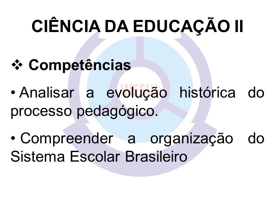 CIÊNCIA DA EDUCAÇÃO II  Competências Analisar a evolução histórica do processo pedagógico.