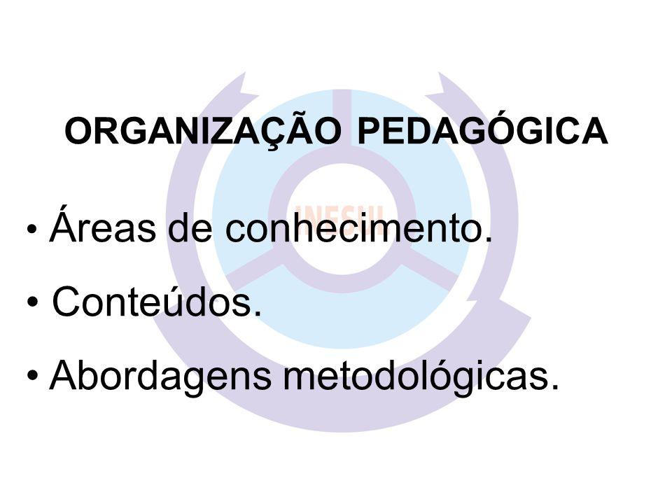 ORGANIZAÇÃO PEDAGÓGICA Áreas de conhecimento. Conteúdos. Abordagens metodológicas.