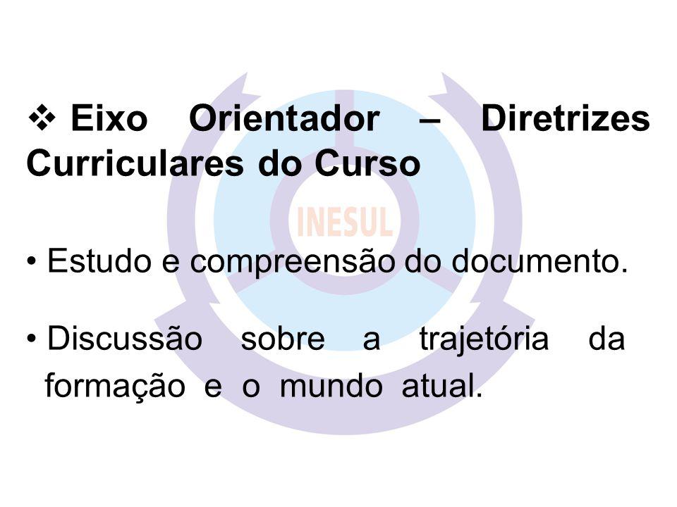  Eixo Orientador – Diretrizes Curriculares do Curso Estudo e compreensão do documento.