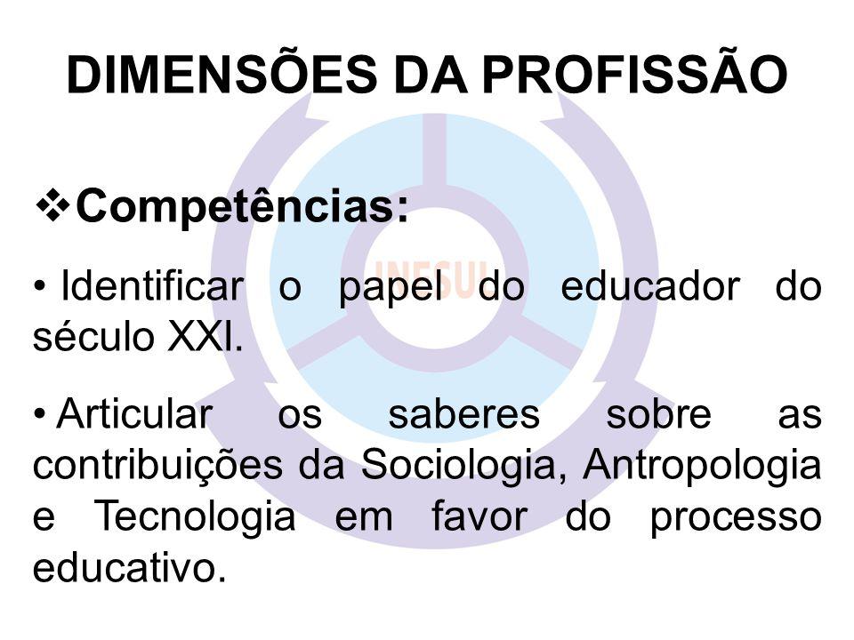 DIMENSÕES DA PROFISSÃO  Competências: Identificar o papel do educador do século XXI.