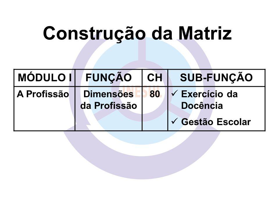 MÓDULO IFUNÇÃOCHSUB-FUNÇÃO A ProfissãoDimensões da Profissão 80 Exercício da Docência Gestão Escolar Construção da Matriz