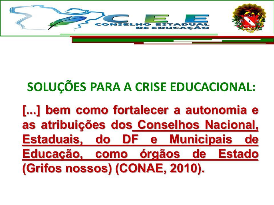 SOLUÇÕES PARA A CRISE EDUCACIONAL: [...] bem como fortalecer a autonomia e as atribuições dos Conselhos Nacional, Estaduais, do DF e Municipais de Edu