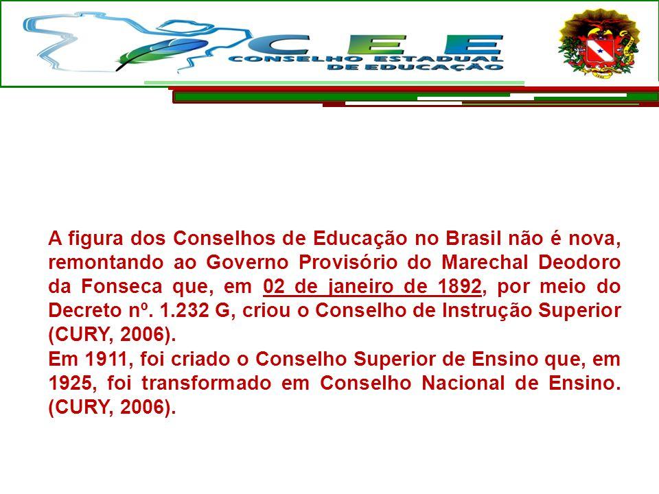 A figura dos Conselhos de Educação no Brasil não é nova, remontando ao Governo Provisório do Marechal Deodoro da Fonseca que, em 02 de janeiro de 1892