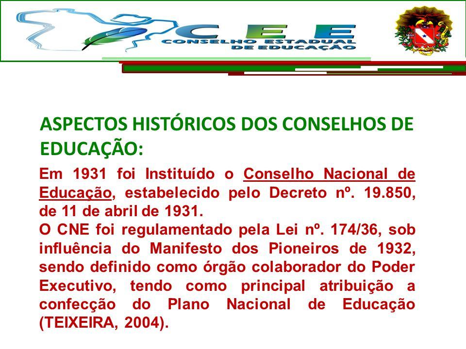 Em 1931 foi Instituído o Conselho Nacional de Educação, estabelecido pelo Decreto nº. 19.850, de 11 de abril de 1931. O CNE foi regulamentado pela Lei