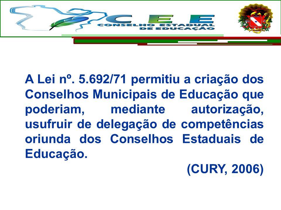A Lei nº. 5.692/71 permitiu a criação dos Conselhos Municipais de Educação que poderiam, mediante autorização, usufruir de delegação de competências o