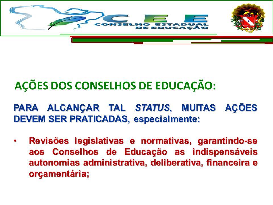 AÇÕES DOS CONSELHOS DE EDUCAÇÃO: PARA ALCANÇAR TAL STATUS, MUITAS AÇÕES DEVEM SER PRATICADAS, especialmente: Revisões legislativas e normativas, garan