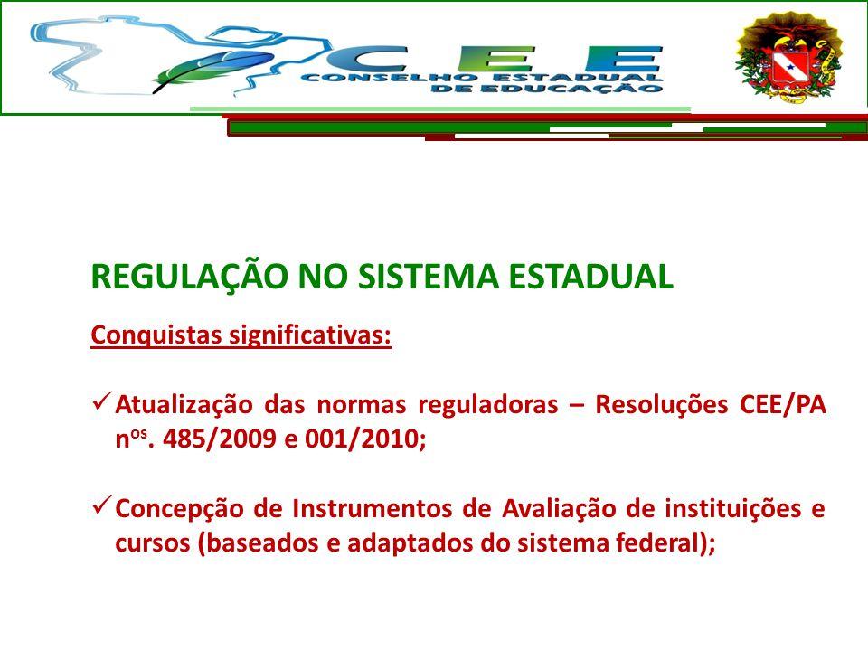 Conquistas significativas: Atualização das normas reguladoras – Resoluções CEE/PA n os. 485/2009 e 001/2010; Concepção de Instrumentos de Avaliação de