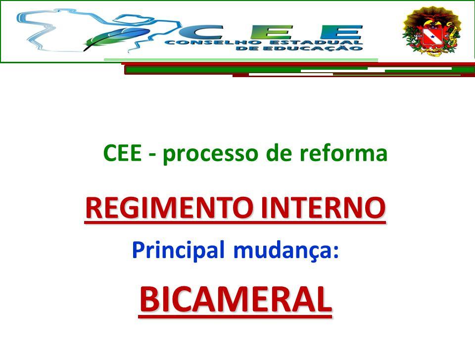 REGIMENTO INTERNO Principal mudança:BICAMERAL CEE - processo de reforma