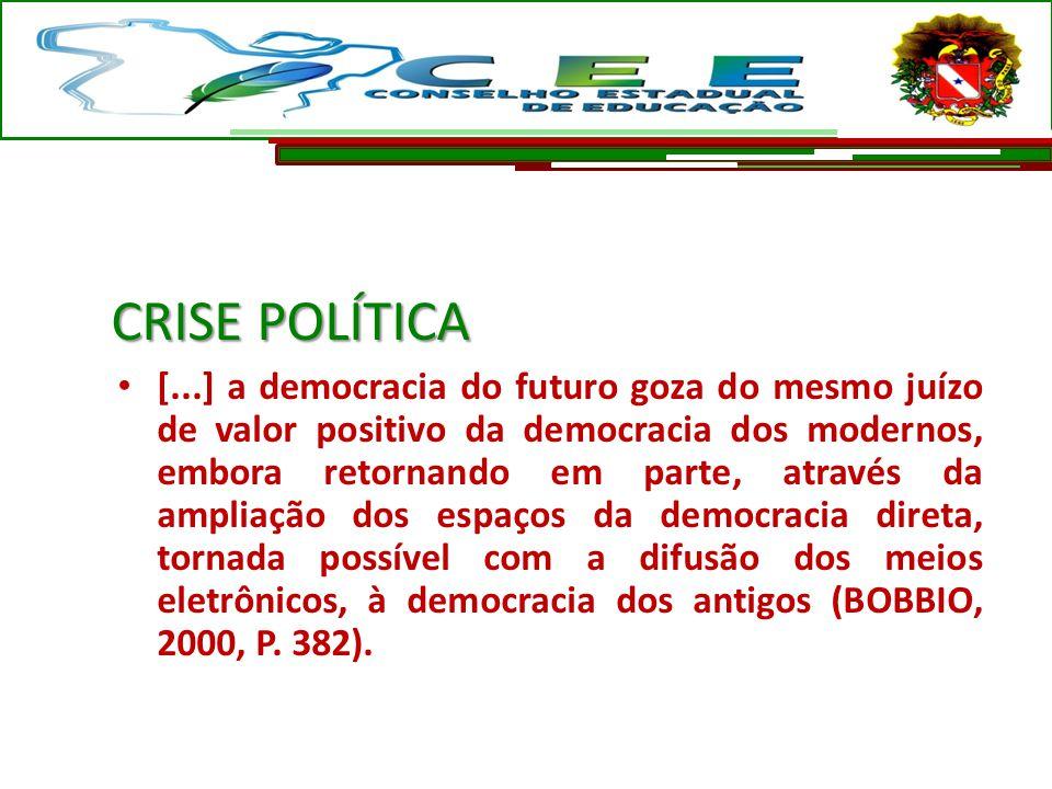 CRISE POLÍTICA [...] a democracia do futuro goza do mesmo juízo de valor positivo da democracia dos modernos, embora retornando em parte, através da a