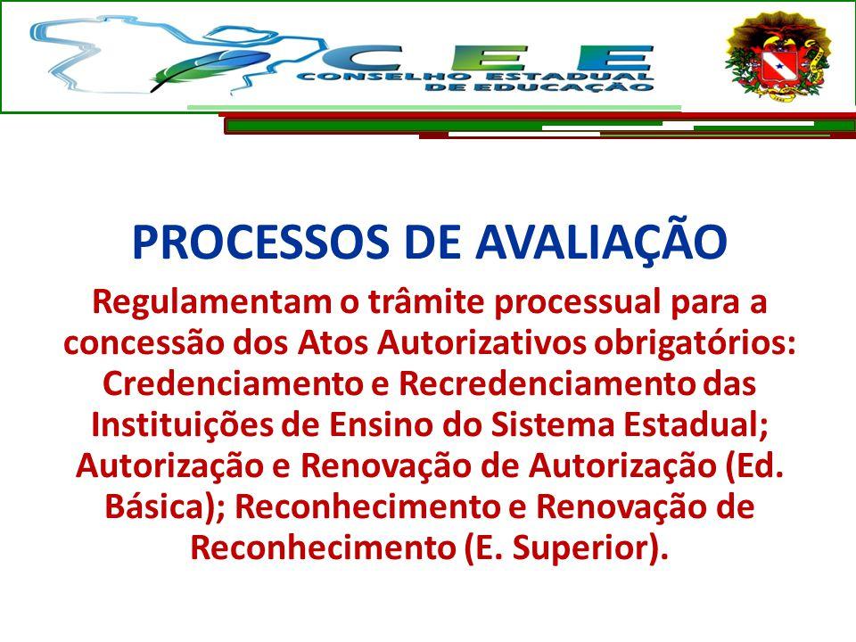 PROCESSOS DE AVALIAÇÃO Regulamentam o trâmite processual para a concessão dos Atos Autorizativos obrigatórios: Credenciamento e Recredenciamento das I