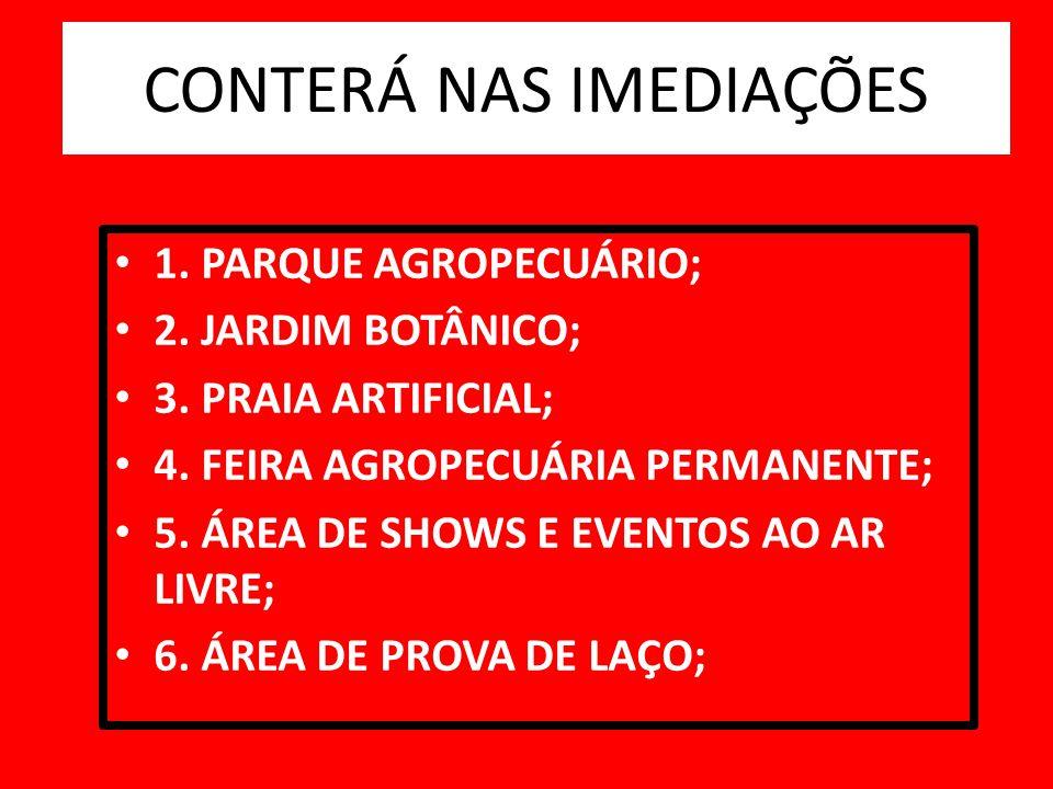 1. PARQUE AGROPECUÁRIO; 2. JARDIM BOTÂNICO; 3. PRAIA ARTIFICIAL; 4. FEIRA AGROPECUÁRIA PERMANENTE; 5. ÁREA DE SHOWS E EVENTOS AO AR LIVRE; 6. ÁREA DE