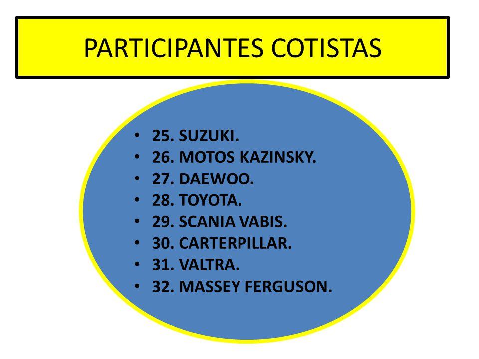 PARTICIPANTES COTISTAS 25. SUZUKI. 26. MOTOS KAZINSKY. 27. DAEWOO. 28. TOYOTA. 29. SCANIA VABIS. 30. CARTERPILLAR. 31. VALTRA. 32. MASSEY FERGUSON.