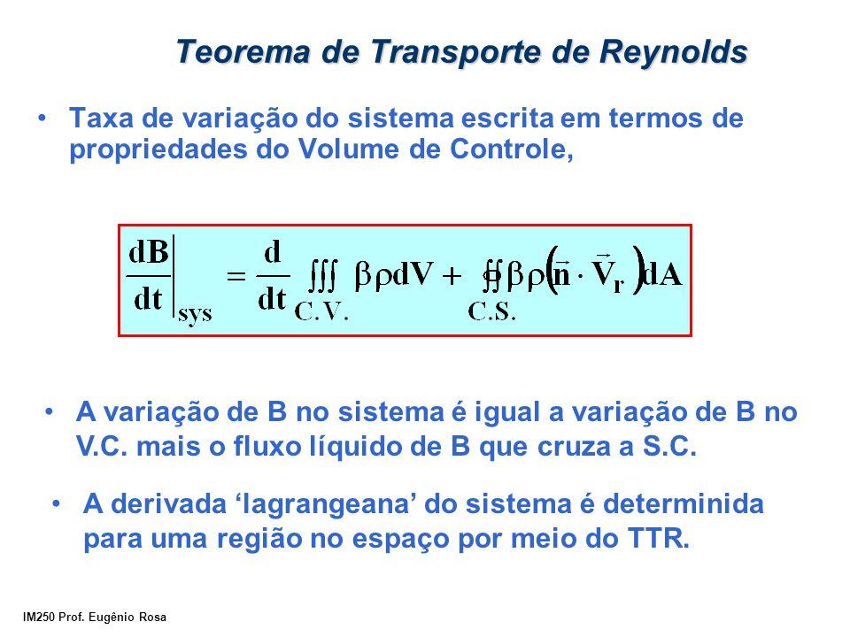 IM250 Prof. Eugênio Rosa Taxa de variação do sistema escrita em termos de propriedades do Volume de Controle, A variação de B no sistema é igual a var
