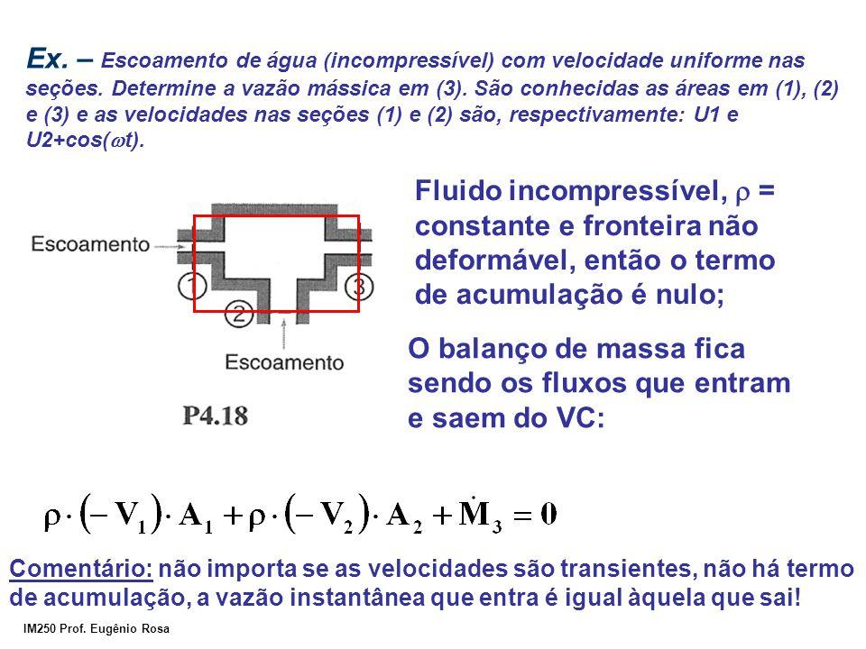 IM250 Prof. Eugênio Rosa Ex. – Escoamento de água (incompressível) com velocidade uniforme nas seções. Determine a vazão mássica em (3). São conhecida