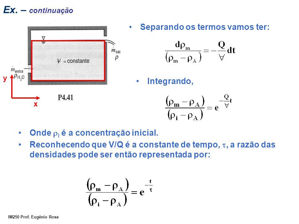 IM250 Prof. Eugênio Rosa Ex. – continuação Separando os termos vamos ter: Integrando, x y Onde  i é a concentração inicial. Reconhecendo que V/Q é a