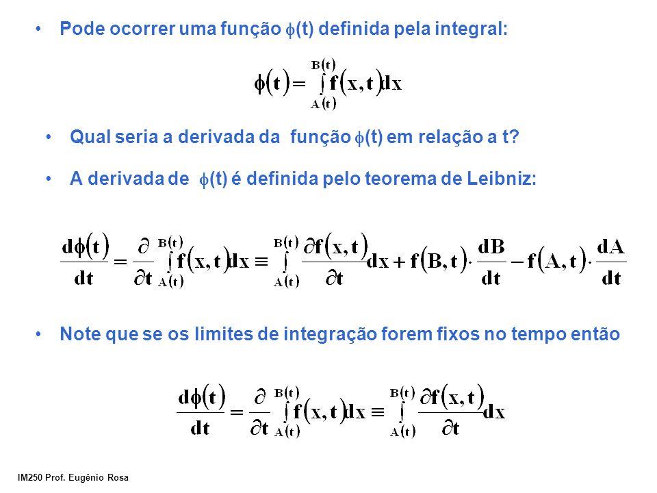 IM250 Prof. Eugênio Rosa Pode ocorrer uma função  (t) definida pela integral: A derivada de  (t) é definida pelo teorema de Leibniz: Note que se os