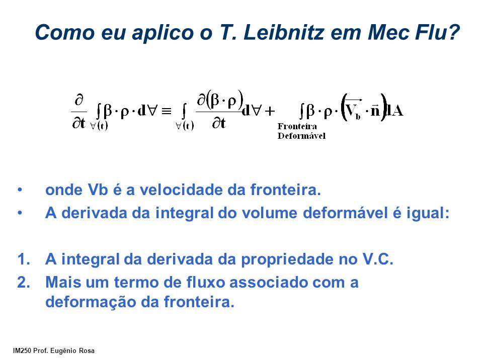IM250 Prof. Eugênio Rosa Como eu aplico o T. Leibnitz em Mec Flu? onde Vb é a velocidade da fronteira. A derivada da integral do volume deformável é i