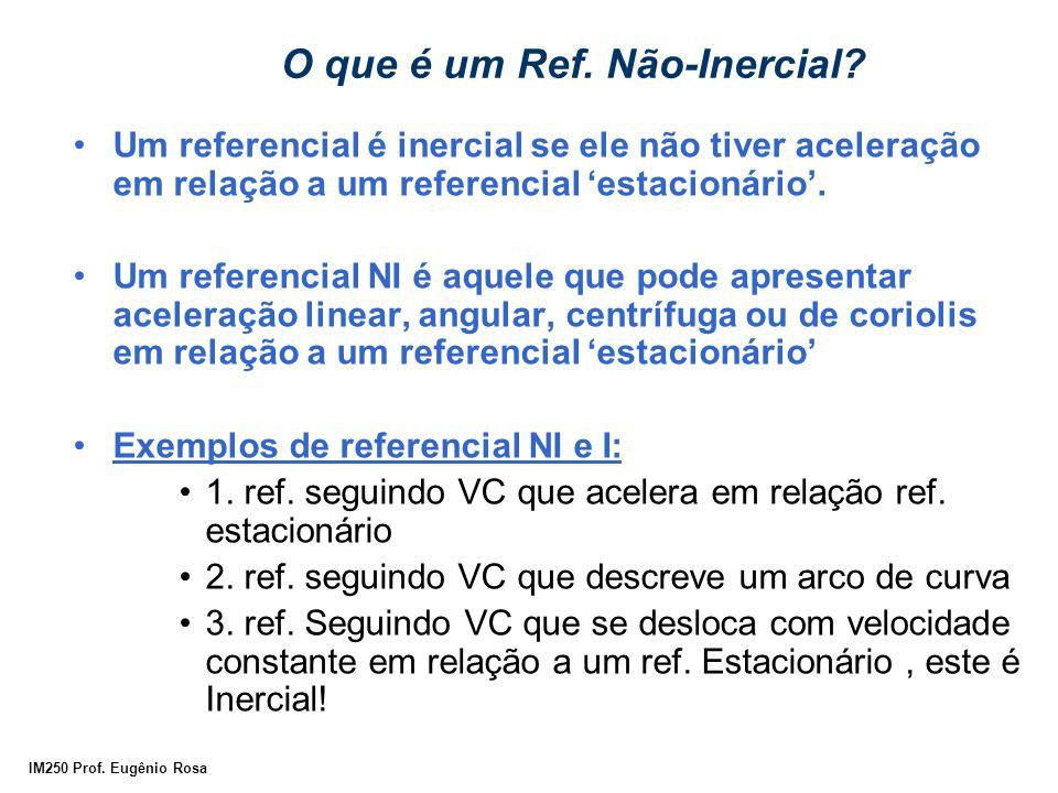 IM250 Prof. Eugênio Rosa O que é um Ref. Não-Inercial? Um referencial é inercial se ele não tiver aceleração em relação a um referencial 'estacionário