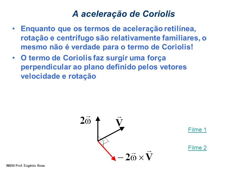 IM250 Prof. Eugênio Rosa A aceleração de Coriolis Enquanto que os termos de aceleração retilínea, rotação e centrífugo são relativamente familiares, o