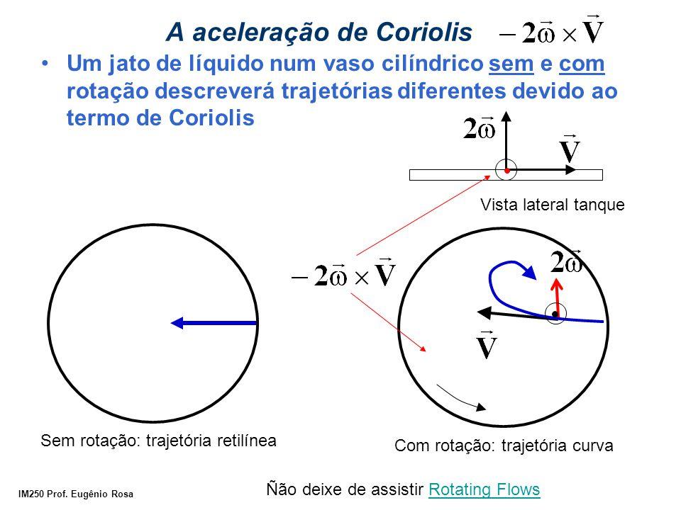IM250 Prof. Eugênio Rosa A aceleração de Coriolis Um jato de líquido num vaso cilíndrico sem e com rotação descreverá trajetórias diferentes devido ao