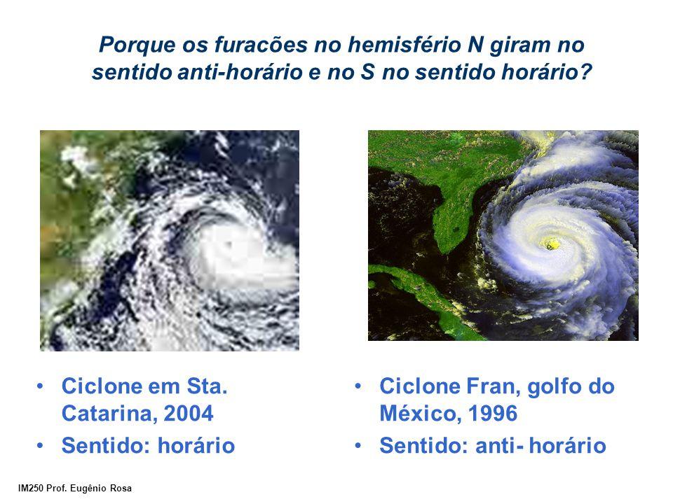 IM250 Prof. Eugênio Rosa Porque os furacões no hemisfério N giram no sentido anti-horário e no S no sentido horário? Ciclone em Sta. Catarina, 2004 Se