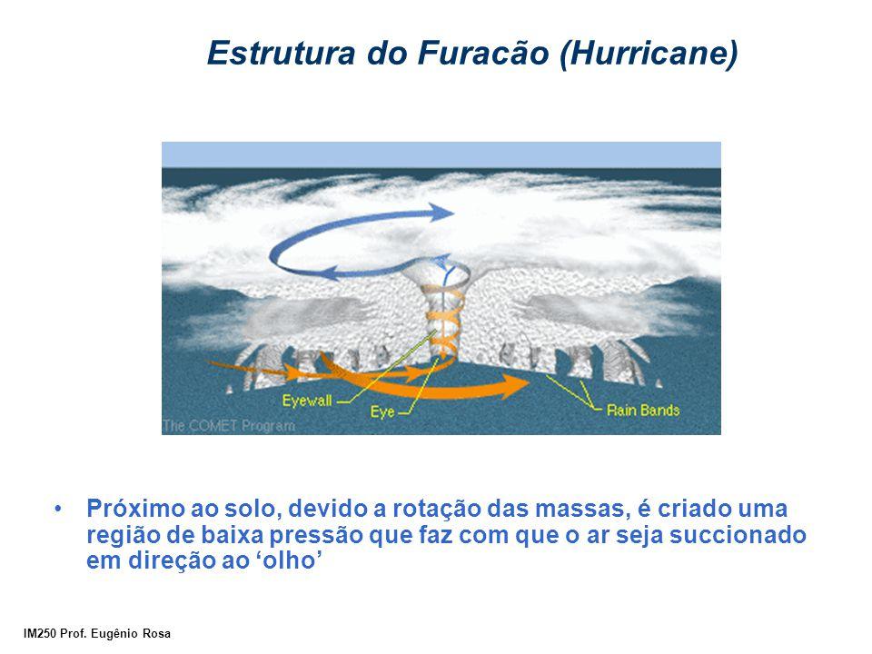 IM250 Prof. Eugênio Rosa Estrutura do Furacão (Hurricane) Próximo ao solo, devido a rotação das massas, é criado uma região de baixa pressão que faz c