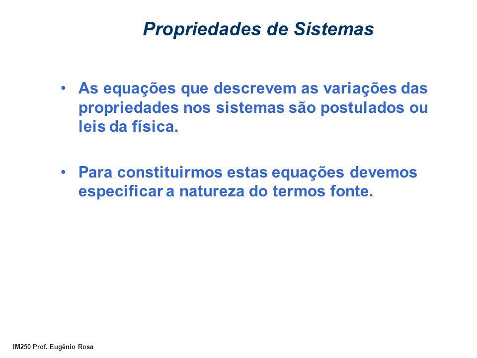 IM250 Prof. Eugênio Rosa Propriedades de Sistemas As equações que descrevem as variações das propriedades nos sistemas são postulados ou leis da físic