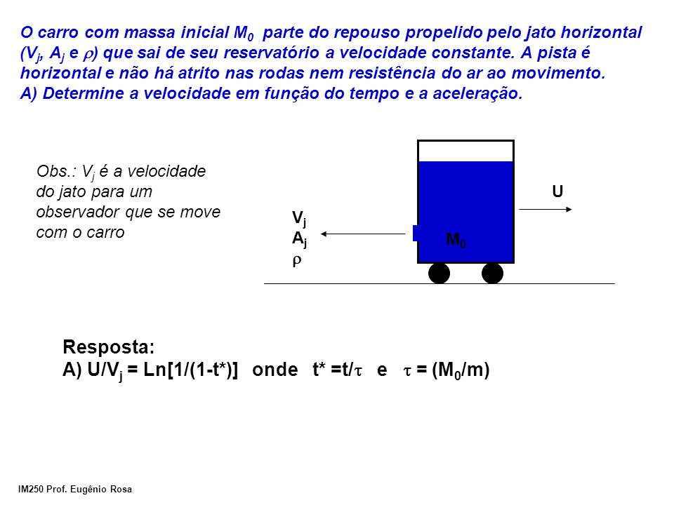 IM250 Prof. Eugênio Rosa O carro com massa inicial M 0 parte do repouso propelido pelo jato horizontal (V j, A j e  ) que sai de seu reservatório a v