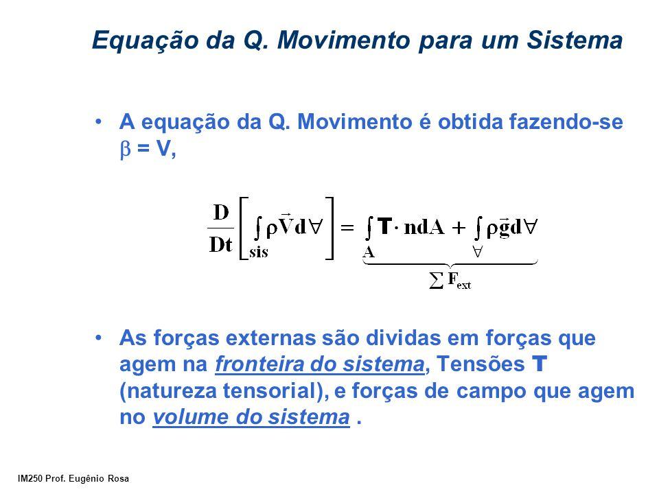 IM250 Prof. Eugênio Rosa Equação da Q. Movimento para um Sistema A equação da Q. Movimento é obtida fazendo-se  = V, As forças externas são dividas e