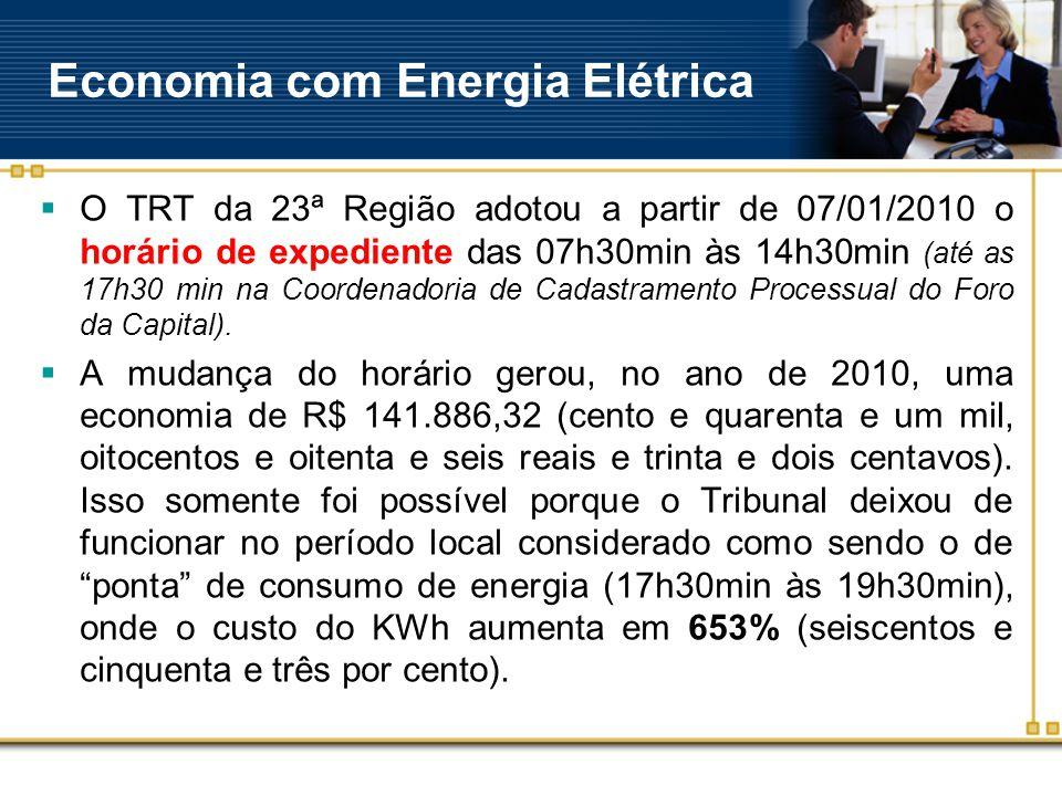 Economia com Energia Elétrica  O TRT da 23ª Região adotou a partir de 07/01/2010 o horário de expediente das 07h30min às 14h30min (até as 17h30 min na Coordenadoria de Cadastramento Processual do Foro da Capital).