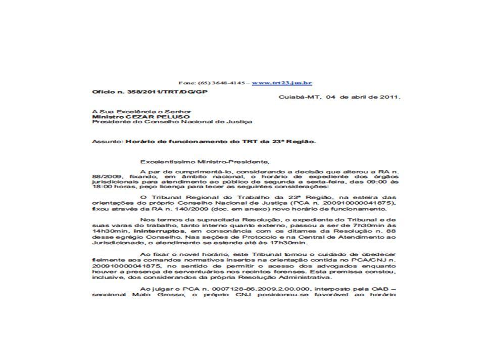Ofício TRT23ª Região encaminhado ao CNJ