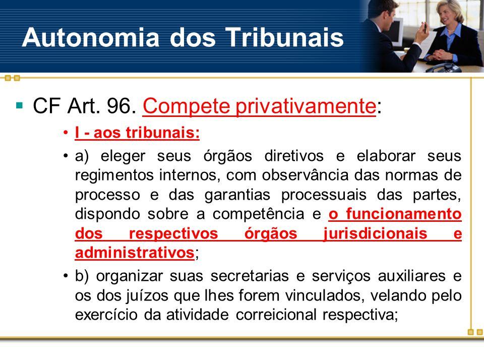 Autonomia dos Tribunais  CF Art. 96.
