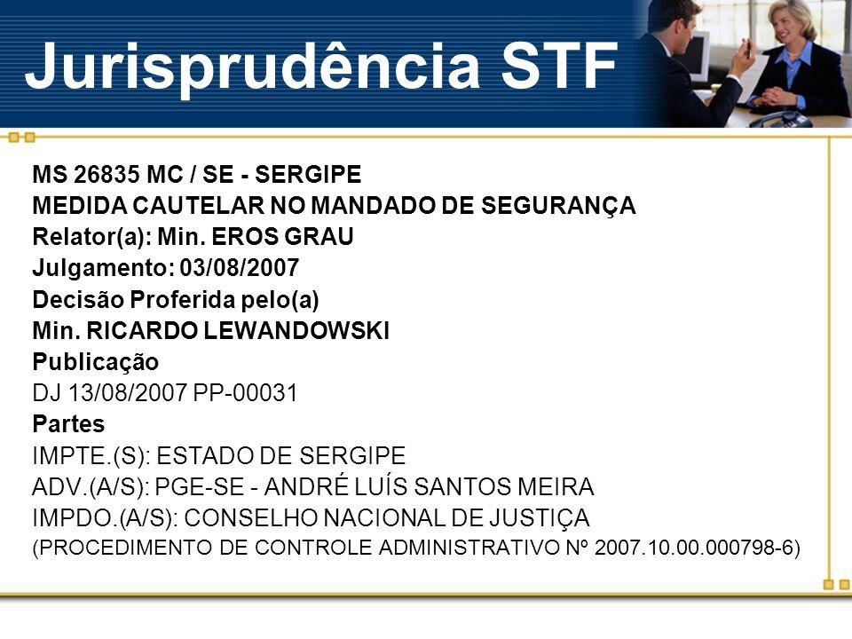 Jurisprudência STF MS 26835 MC / SE - SERGIPE MEDIDA CAUTELAR NO MANDADO DE SEGURANÇA Relator(a): Min.
