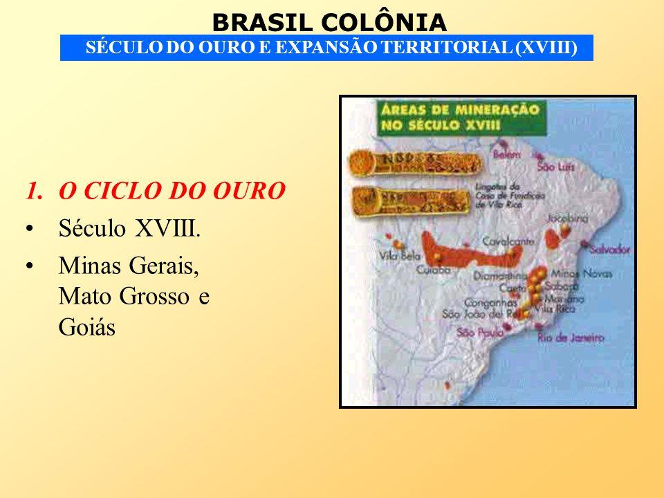 BRASIL COLÔNIA SÉCULO DO OURO E EXPANSÃO TERRITORIAL (XVIII) 1.O CICLO DO OURO Século XVIII. Minas Gerais, Mato Grosso e Goiás