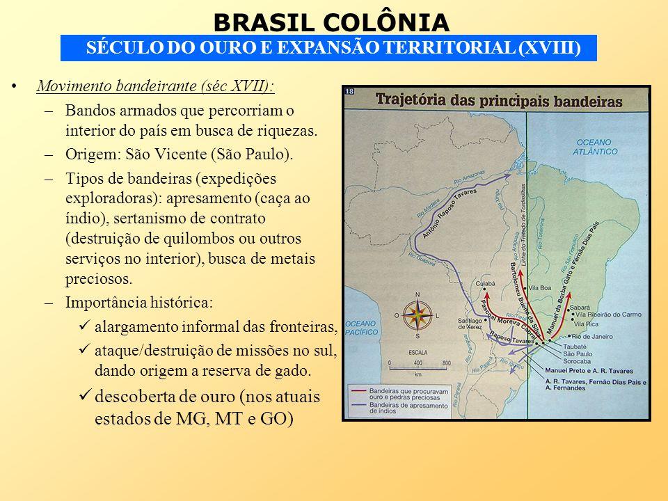 BRASIL COLÔNIA SÉCULO DO OURO E EXPANSÃO TERRITORIAL (XVIII) Movimento bandeirante (séc XVII): –Bandos armados que percorriam o interior do país em bu