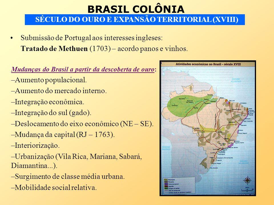 BRASIL COLÔNIA SÉCULO DO OURO E EXPANSÃO TERRITORIAL (XVIII) Submissão de Portugal aos interesses ingleses: Tratado de Methuen (1703) – acordo panos e